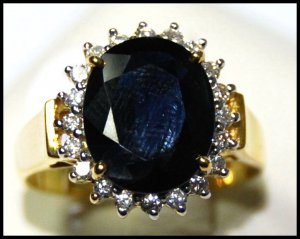 18K Yellow Gold Cocktail Natural Blue Sapphire Diamond Ring [RS0043]