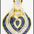 Blue Sapphire Heart Jewelry Diamond 18K Yellow Gold Pendant [P0090]
