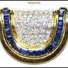 18K Yellow Gold Diamond Jewelry Blue Sapphire Pendant [P0136]