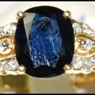 Unique Diamond Cocktail Blue Sapphire Ring 18K Yellow Gold [RS0153]