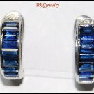 18K White Gold Diamond Unique Blue Sapphire Earrings [E0080]