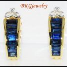Blue Sapphire 18K Yellow Gold Jewelry Diamond Earrings [E0005]