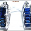 18K White Gold Genuine Diamond Blue Sapphire Earrings [E0084]