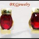 18K Yellow Gold Jewelry Stud Gemstone Oval Ruby Earrings [E0034]