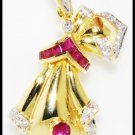 Natural Diamond Ruby Brooch/Pendant Gemstone 18K Yellow Gold [I_015]