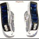 Blue Sapphire 18K White Gold Jewelry Diamond Earrings [E0089]