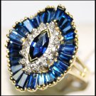 Genuine Diamond Blue Sapphire 18K Yellow Gold Cocktail Ring [RB0002]