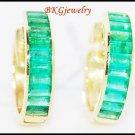 Unique Gemstone Emerald Huggie Earrings 18K Yellow Gold [EL0008]