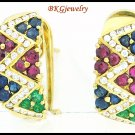 Natural Diamond Multi Gemstone Earrings 18K Yellow Gold [E0058]