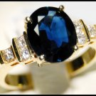 18K Yellow Gold Diamond Oval Solitaire Blue Sapphire Ring [RS0083B]