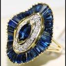 Diamond Wedding Cocktail 18K Yellow Gold Blue Sapphire Ring [RB0003]