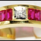 Center Diamond and For Men Ruby Ring 18K Yellow Gold [R0035]