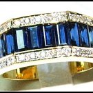Diamond 18K Yellow Gold Genuine Blue Sapphire For Men Ring [RQ0009]