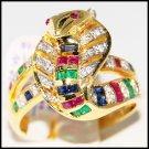 Jewelry 18K Yellow Gold Diamond Multi Gemstone Snake Ring [R0002]