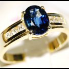 Diamond Oval Blue Sapphire Solitaire 18K Yellow Gold Ring [RS0015]