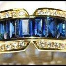 Diamond For Men Blue Sapphire Eternity Ring 18K Yellow Gold [RQ0015]