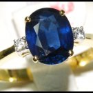 Diamond Oval Solitaire Blue Sapphire 18K Yellow Gold Ring [RS0002B]