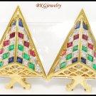 18K Yellow Gold Jewelry Diamond Multi Gemstone Earrings [E0066]