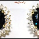 14K Yellow Gold Natural Blue Sapphire Diamond Earrings [E_112]