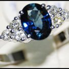 Diamond Natural Solitaire 18K White Gold Blue Sapphire Ring [RS0012B]