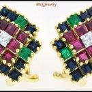 Genuine Diamond 18K Yellow Gold Multi Gemstone Earrings [E0059]