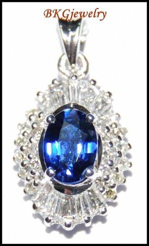 18K White Gold Blue Sapphire Diamond Solitaire Pendant [P0139]