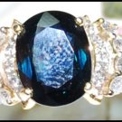 Natural 18K Yellow Gold Diamond Cocktail Blue Sapphire Ring [RS0149]