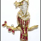 Genuine Ruby Diamond Bird Brooch/Pin Gemstone 18K Yellow Gold [I_018]