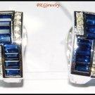 Unique 18K White Gold Diamond Blue Sapphire Earrings [E0081]