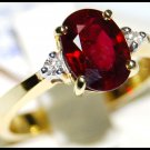 Natural Diamond 18K Yellow Gold Ring Solitaire Ruby [RS0003B]