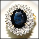 Diamond Wedding 18K Yellow Gold Cocktail Blue Sapphire Ring [RS0042]
