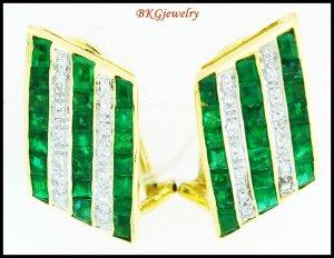 Genuine Emerald Diamond Gemstone Earrings 18K Yellow Gold [E0057]