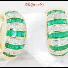 18K Yellow Gold Diamond Gemstone Emerald Eternity Earrings [E0070]