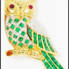 Gemstone Emerald Owl Brooch/Pin Diamond 18K Yellow Gold [I_005]