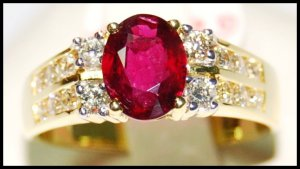 Diamond Natural Ruby Solitaire 18K Yellow Gold Ring [RS0159]