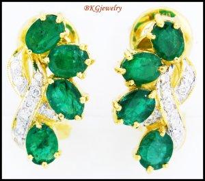 Unique Emerald Gemstone 18K Yellow Gold Diamond Earrings [E0052]