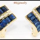 Genuine Diamond Blue Sapphire Earrings 18K Yellow Gold [E0024]