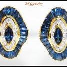 Jewelry Diamond 18K Yellow Gold Blue Sapphire Earrings [E0038]