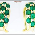 Diamond Genuine Gemstone Emerald Earrings 18K Yellow Gold [E0050]