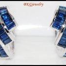 Eternity Blue Sapphire Gemstone 18K White Gold Earrings [E0022]