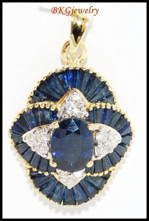 18K Yellow Gold Blue Sapphire Natural Diamond Pendant [P0003]