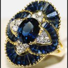 Cocktail Blue Sapphire Eternity Diamond Ring 18K Yellow Gold [RB0007]