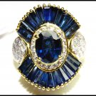 18K Yellow Gold Genuine Diamond Blue Sapphire Cocktail Ring [RB0005]