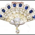 Genuine Blue Sapphire Diamond Brooch/Pin 18K Yellow Gold [I_031]