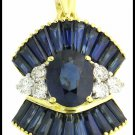 Natural Diamond 18K Yellow Gold Blue Sapphire Pendant [P0002]