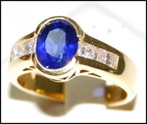 Diamond Natural Gemstone Blue Sapphire Ring 18K Yellow Gold [RS0160]