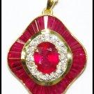 Natural Diamond Ruby Gemstone Pendant 18K Yellow Gold [P0137]