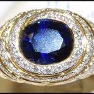Gemstone Blue Sapphire Genuine Diamond 18K Yellow Gold Ring [RF0014]