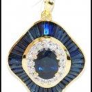 18K Yellow Gold Diamond Blue Sapphire Pendant Gemstone [P0004]