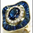 Cocktail Eternity 18K Yellow Gold Diamond Blue Sapphire Ring [RB0008]